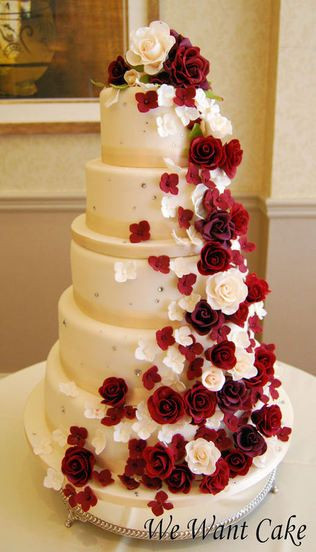 Red And White Wedding Cakes With Roses  334 best images about Wedding Cakes Red & White on