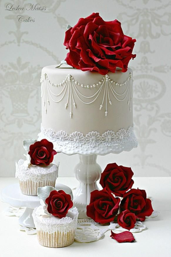 Red And White Wedding Cakes With Roses  Red Wedding Rose Wedding Cake & Cupcakes Weddbook
