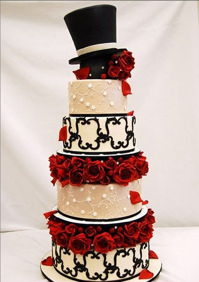 Red Black And White Wedding Cake  Amazing Red Black And White Wedding Cakes [27 Pic