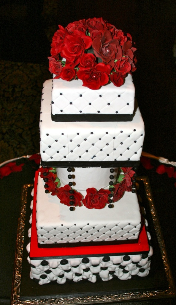 Red Black And White Wedding Cake  red and black wedding cakes