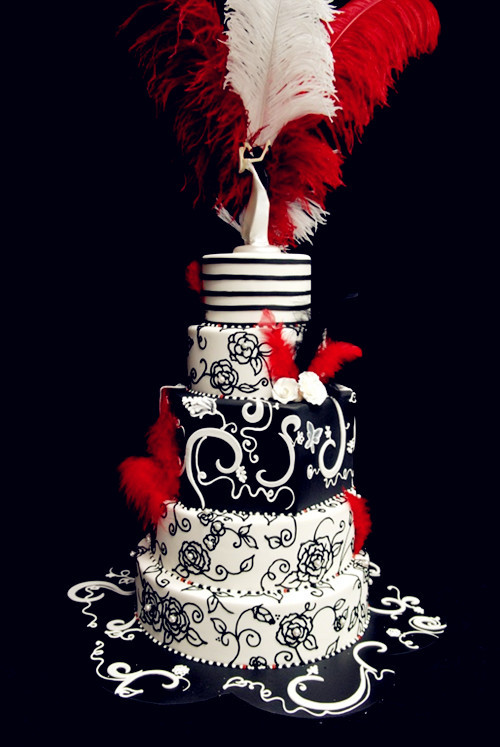 Red Black And White Wedding Cake  Red Wedding Theme Red Black and White Wedding Cakes for
