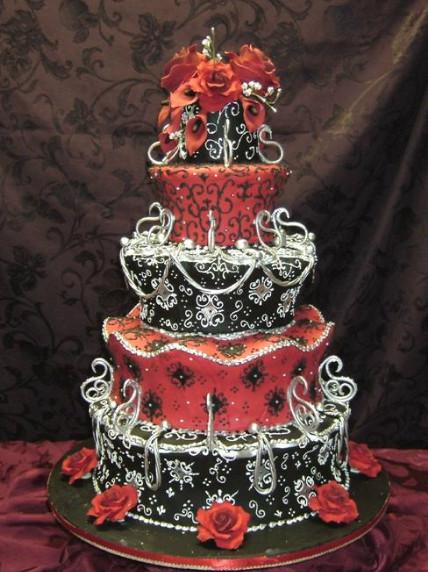 Red Black Wedding Cakes  Wedding Cakes September 2011