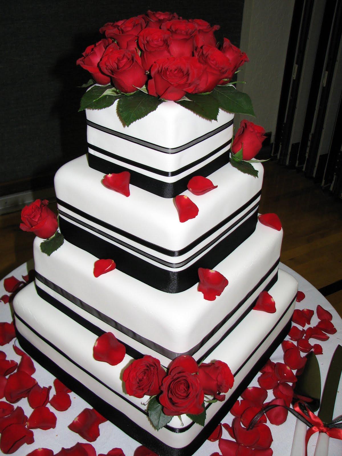 Red Black Wedding Cakes  Decadent Designs Fondant Black Red Wedding Cake