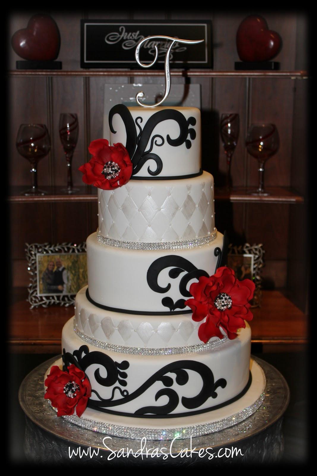 Red Black Wedding Cakes  Red Black and White Wedding Cake
