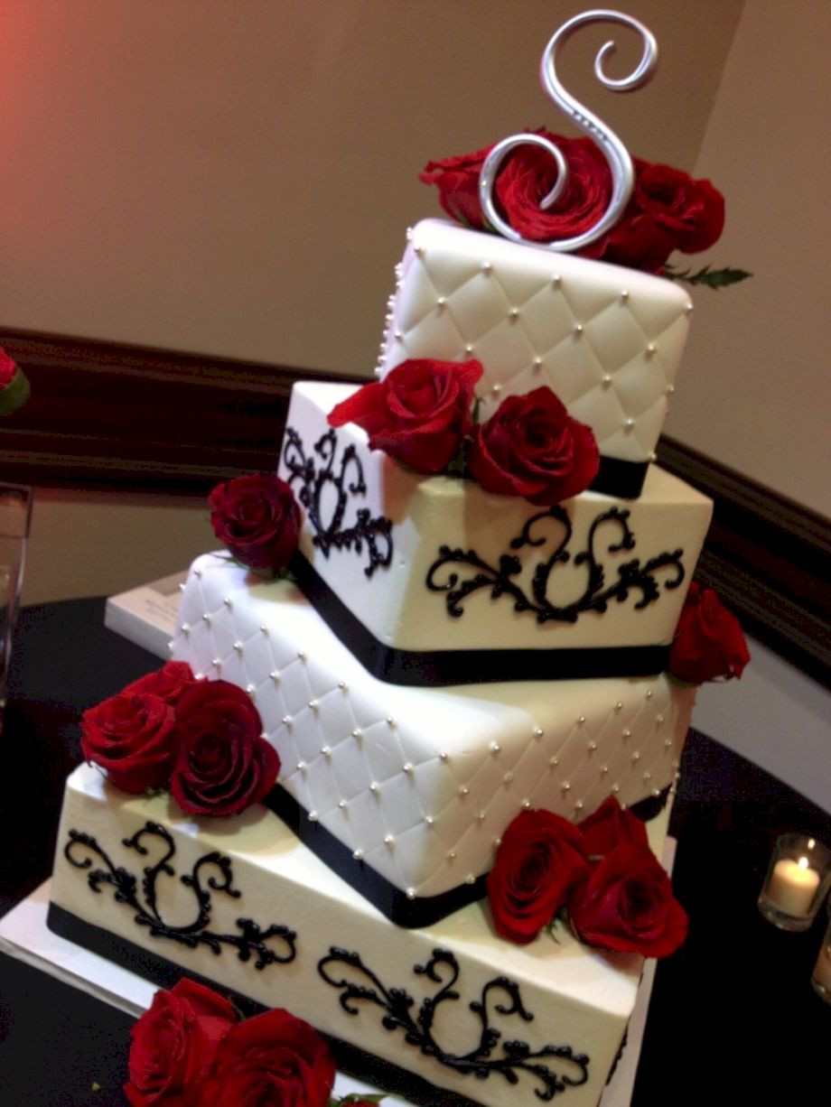 Red Black Wedding Cakes  Red black and white wedding cakes 4 VIs Wed