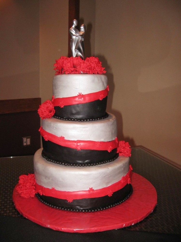 Red Black Wedding Cakes  Red Black Silver Wedding Cake Wedding Cake Cake Ideas by