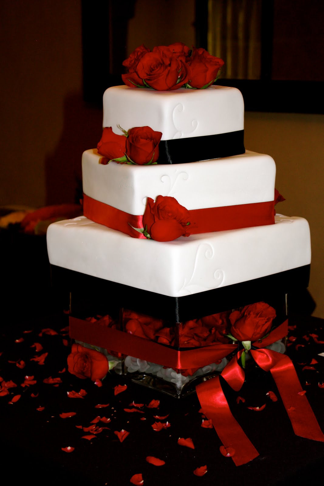 Red Black Wedding Cakes  bumble cakes jessica brent black red and white wedding