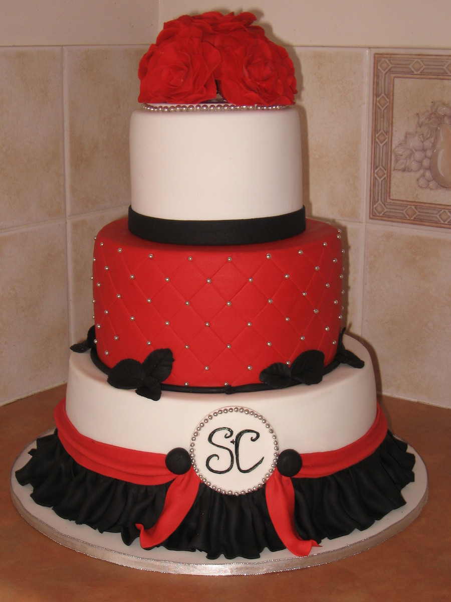 Red Black Wedding Cakes  Red Silver Black Wedding Cake CakeCentral