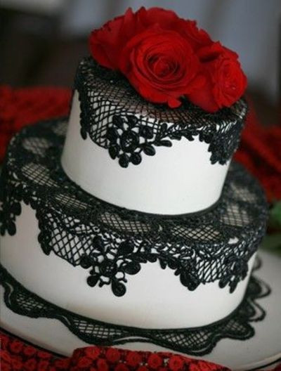 Red Black White Wedding Cake  Amazing Red Black And White Wedding Cakes [27 Pic