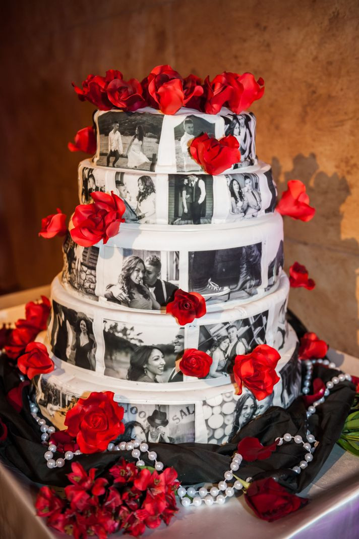 Red Black White Wedding Cake  Epic Los Angeles Wedding that Delivers the Glitz & Glamour