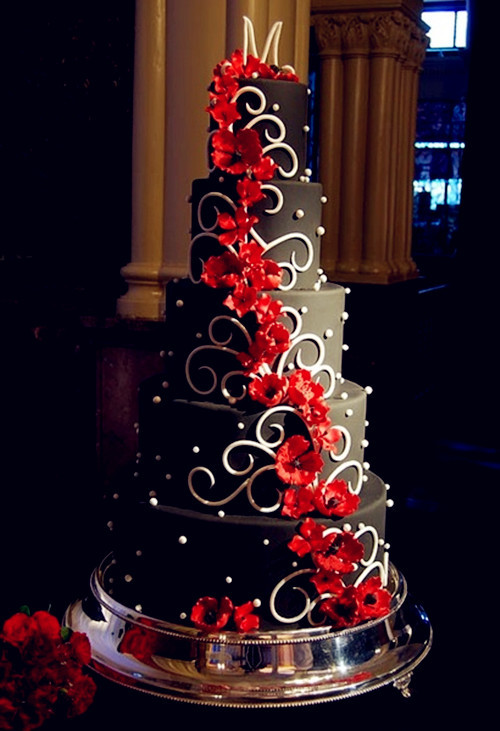 Red Black White Wedding Cake  Red Wedding Theme August 2013