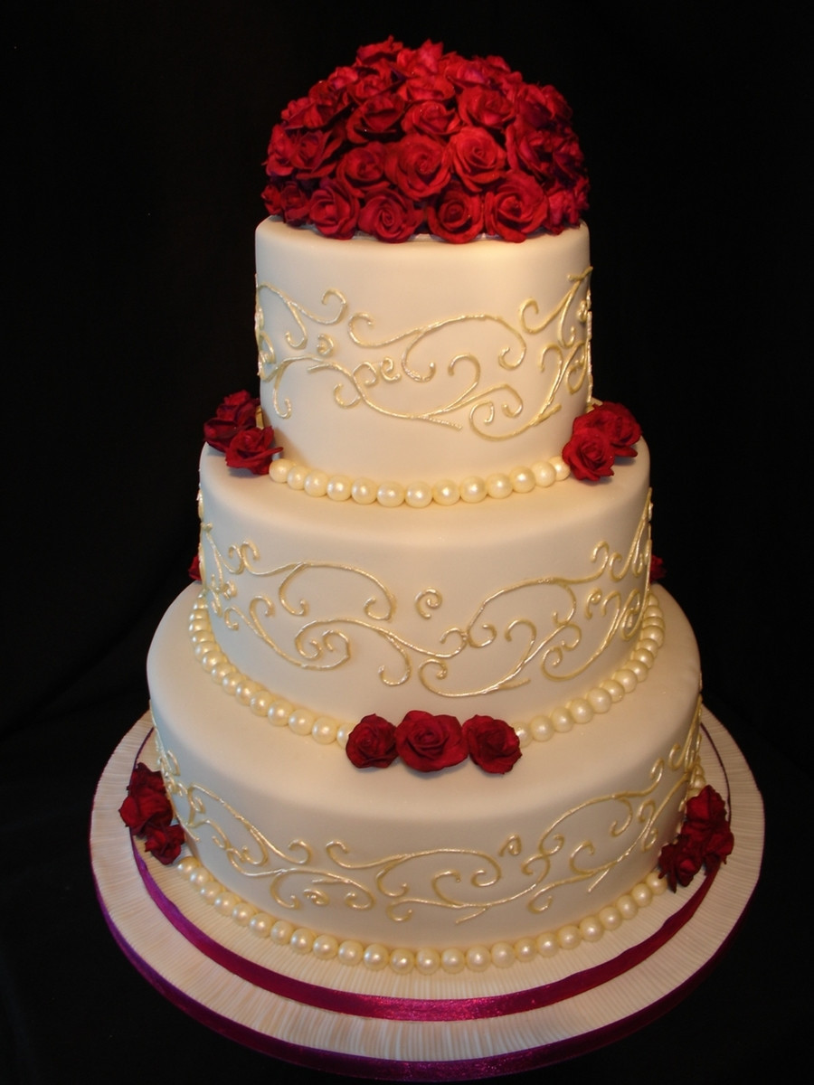 Red Rose Wedding Cakes  Cream And Plum Wedding Cake CakeCentral