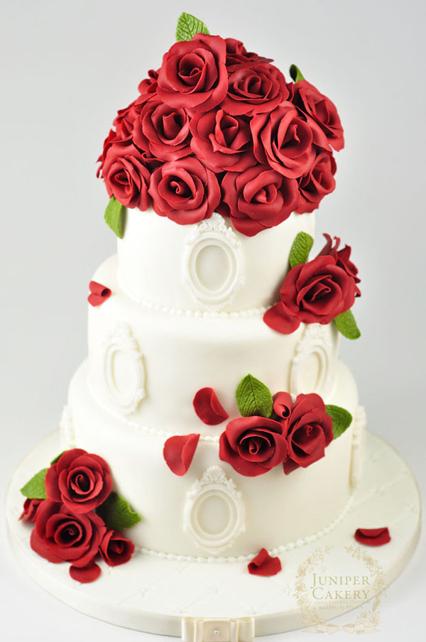Red Rose Wedding Cakes  Nisha Calculation LOVELY ROSE DESIGN CAKE PIK