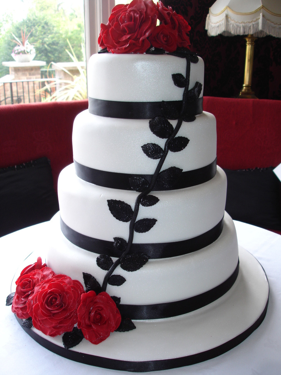 Red Rose Wedding Cakes  White And Black Wedding Cake With Red Roses CakeCentral