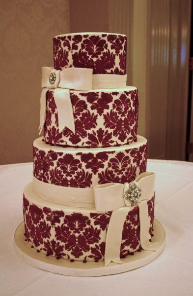 Red Velvet Wedding Cake  Damasks Red velvet cakes and Our wedding day on Pinterest