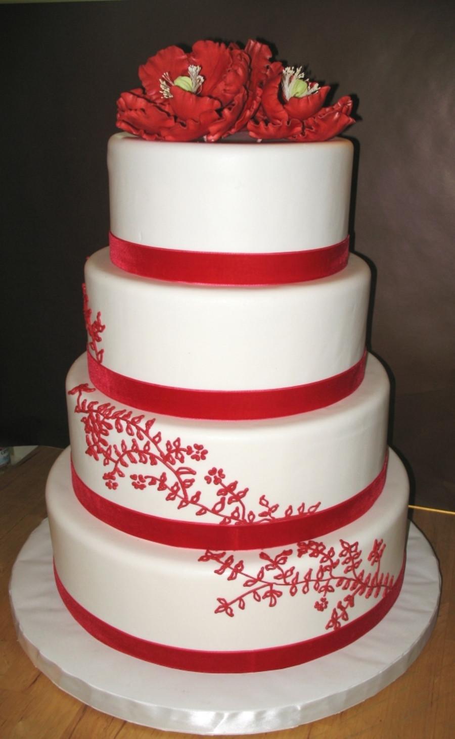 Red Velvet Wedding Cake  Red Velvet Ribbon Wedding Cake CakeCentral