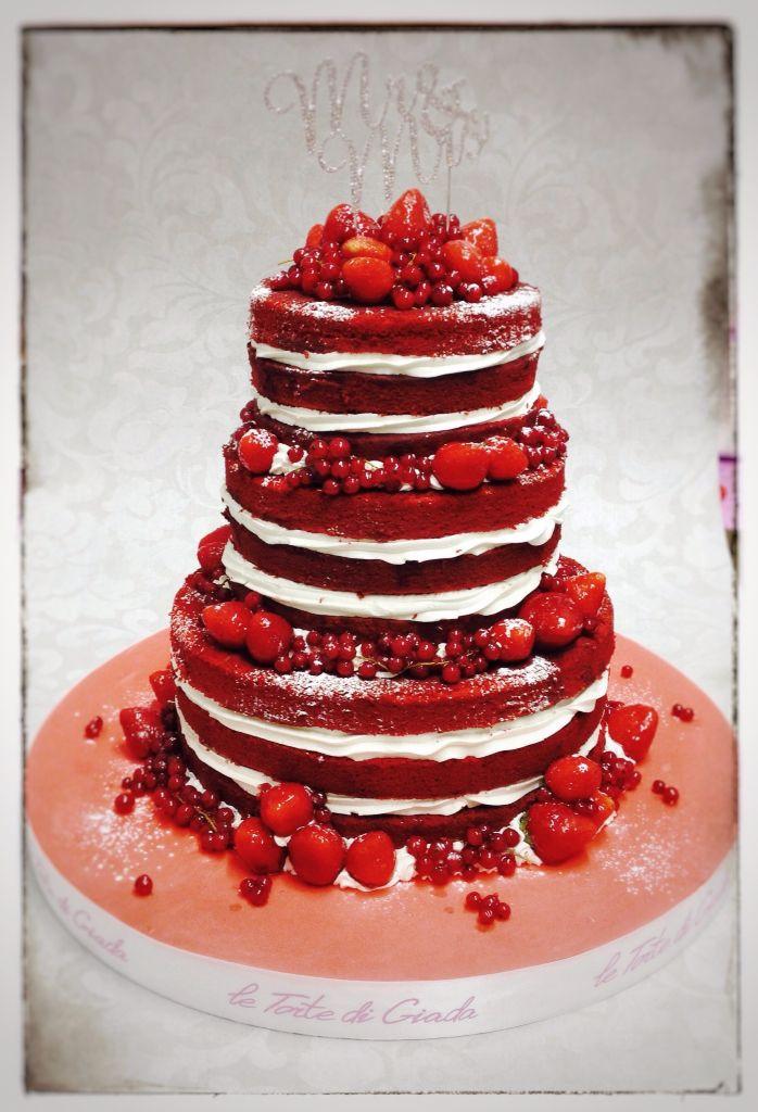 Red Velvet Wedding Cake  Naked Wedding Cake Red Velvet con crema alla vaniglia e