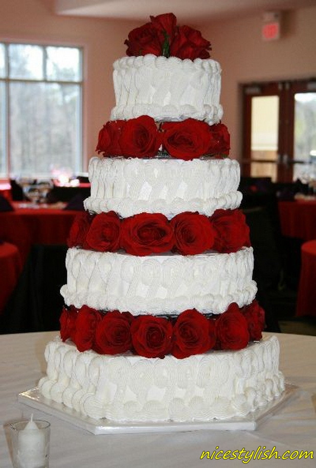 Red White Wedding Cakes  Cake Place Red and White Tier Wedding Cake