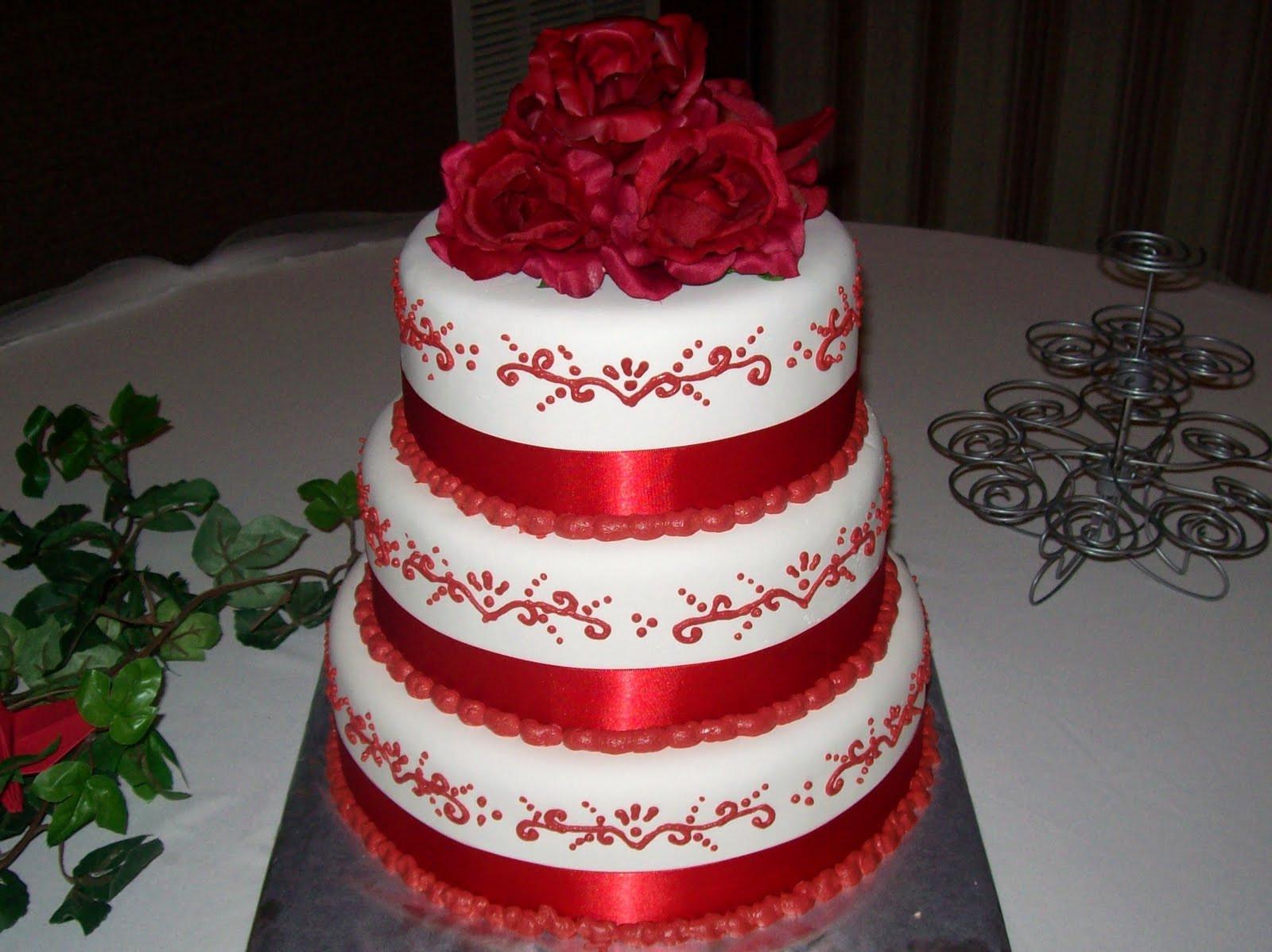 Red White Wedding Cakes  SAB Cakes Red on White Wedding Cake