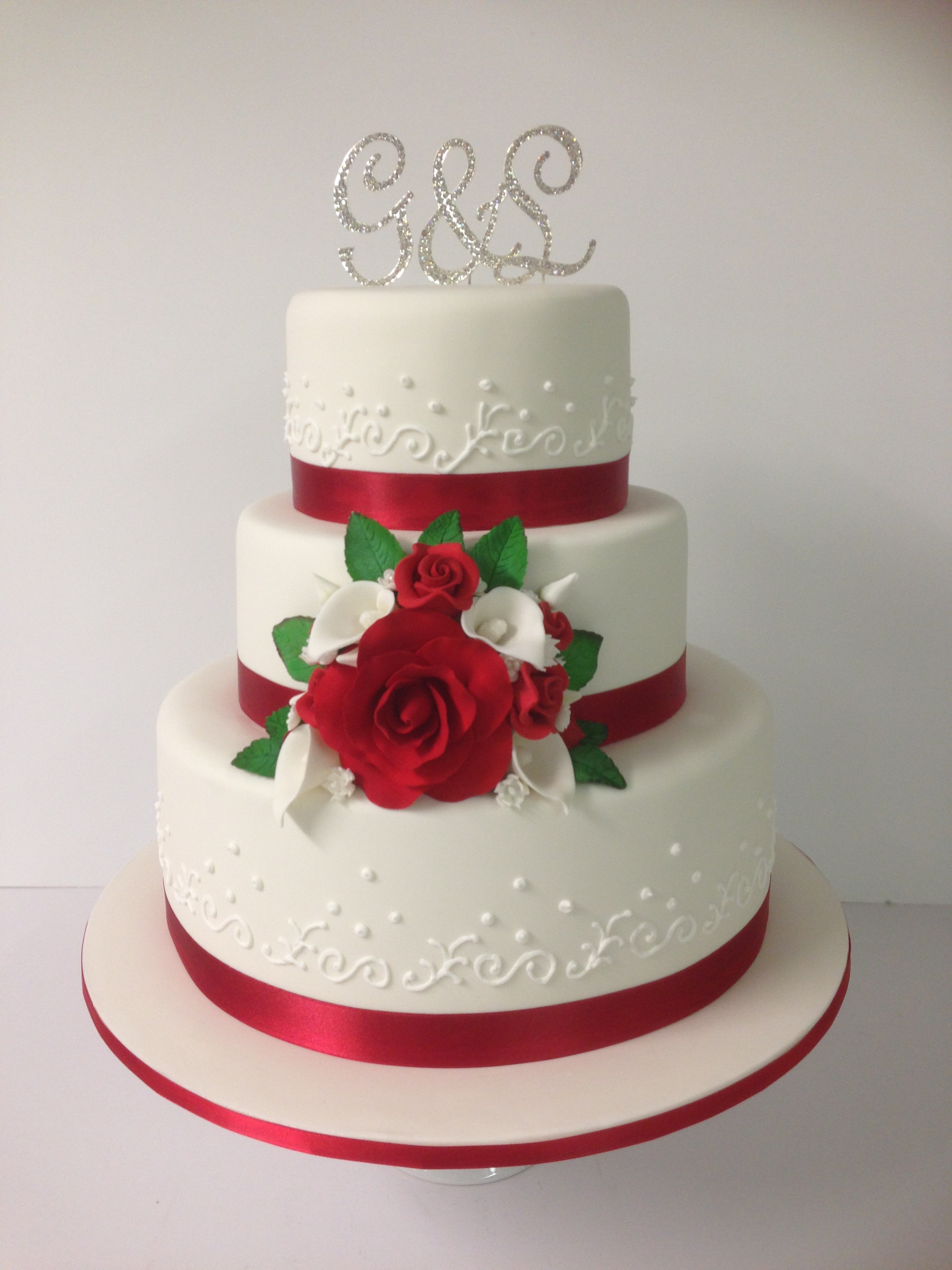 Red White Wedding Cakes  3 tier red and white wedding cake Annette s Heavenly Cakes