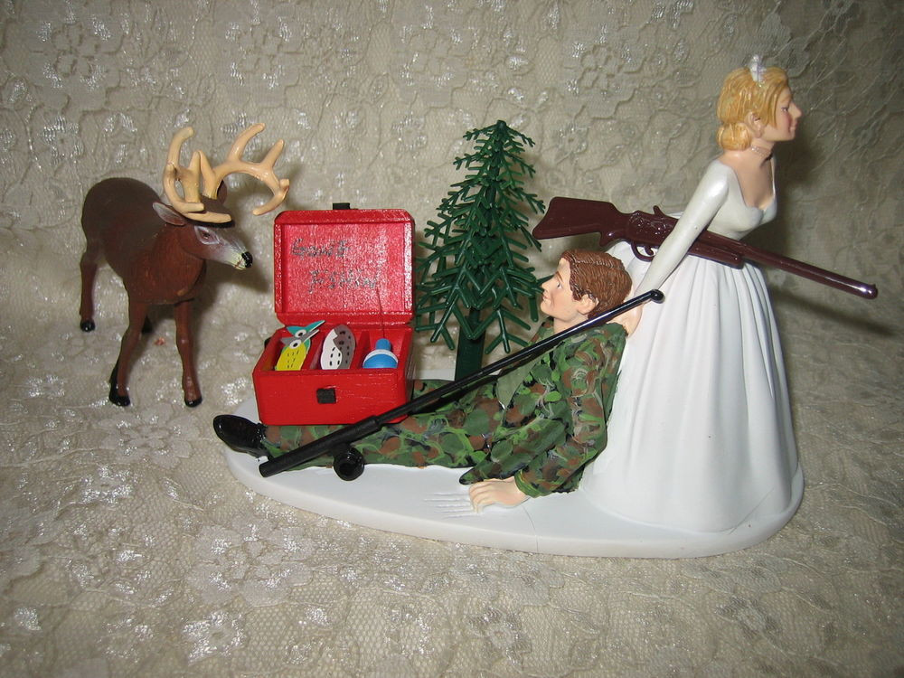 Redneck Wedding Cakes Toppers  Wedding Reception Party Fishing Fisherman Pole & Buck Deer