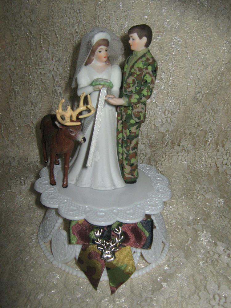 Redneck Wedding Cakes Toppers  HUNTER REDNECK BUCK DEER BRIDE CAMO GROOM WEDDING CAKE