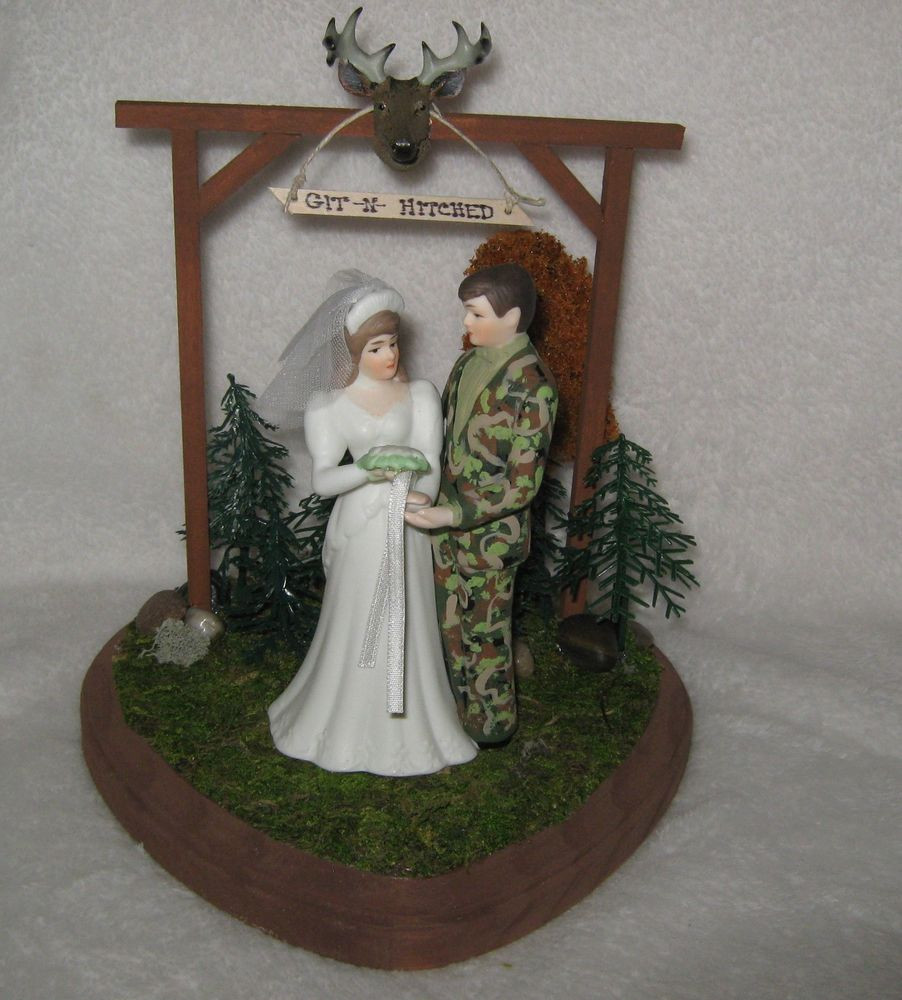 Redneck Wedding Cakes Toppers  Wedding Party Reception Git n Hitched Camo Deer Hunter