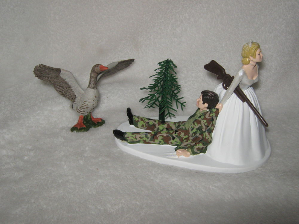 Redneck Wedding Cakes Toppers  Wedding Party Reception Geese Fowl Cake Topper Camo