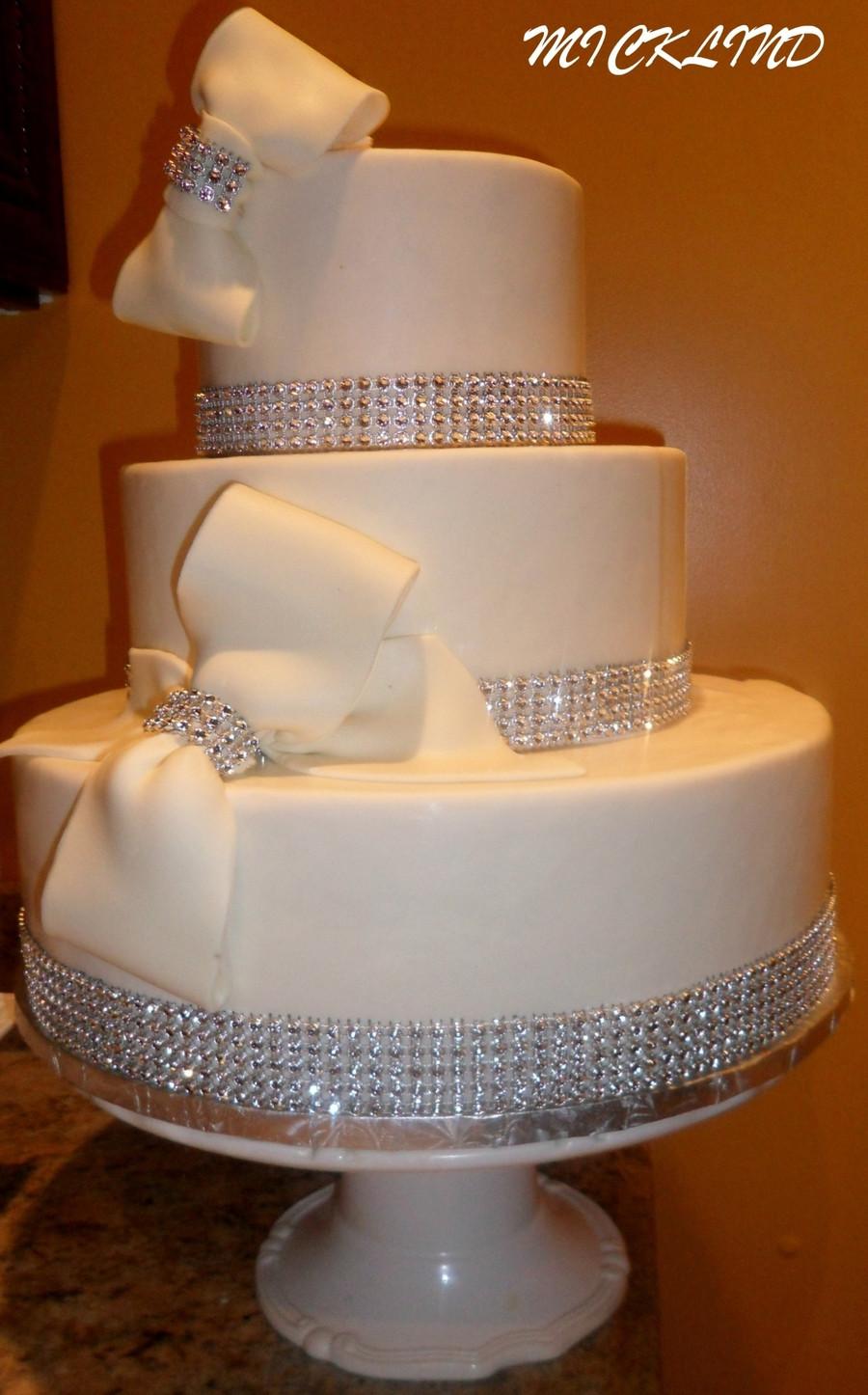 Rhinestone Wedding Cakes  Bows & Rhinestones Wedding Cake CakeCentral