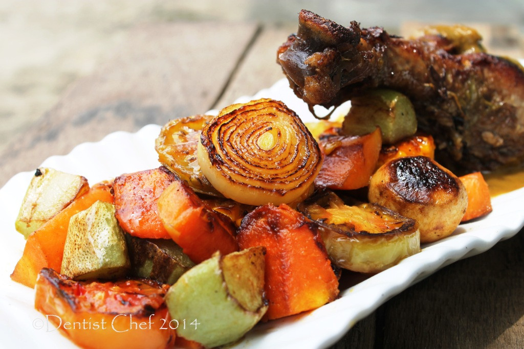 Roasted Summer Vegetables Recipe  Wine Braised Turkey Leg Recipe with Roasted Summer