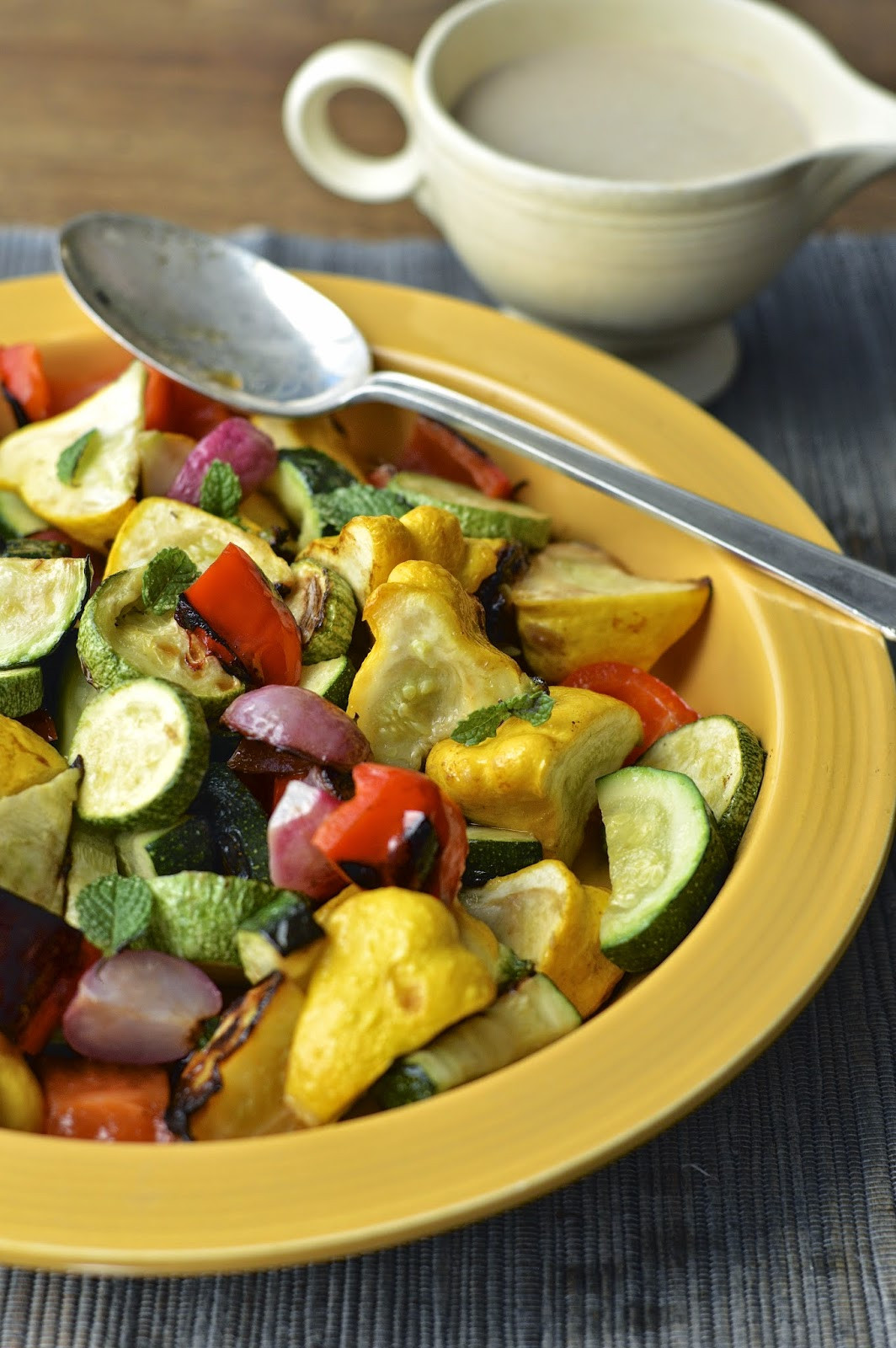 Roasted Summer Vegetables Recipe  Roasted Summer Ve ables with Lemon Tahini Dressing