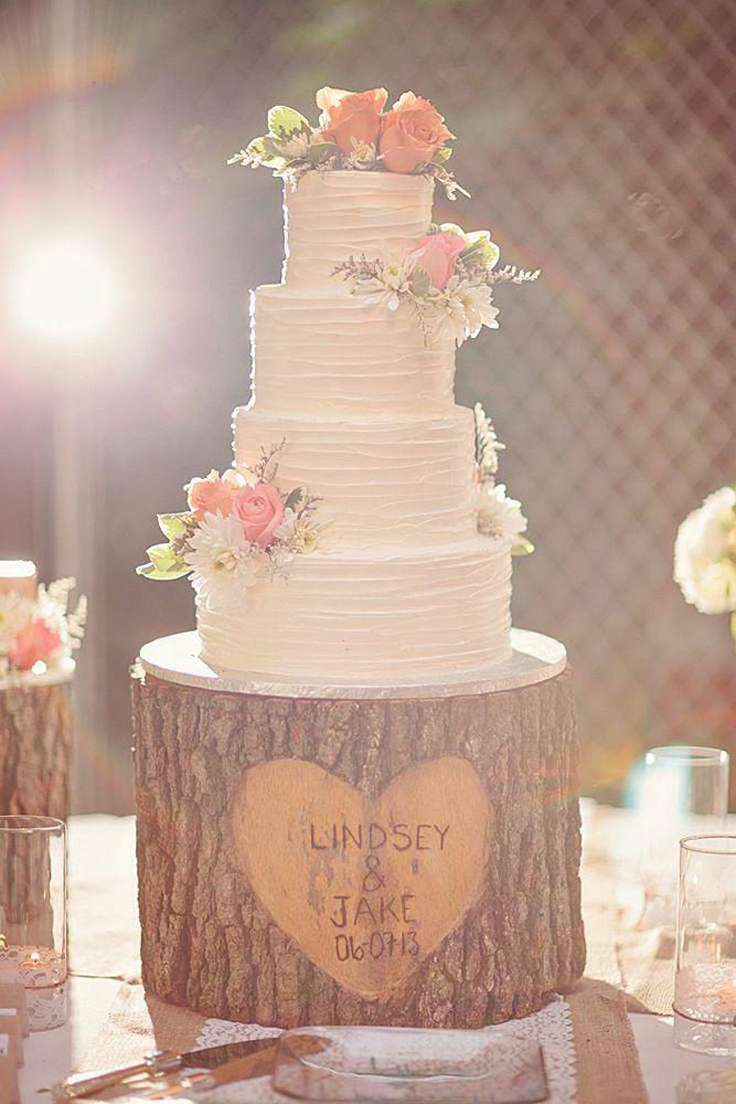 Romantic Wedding Cakes  simple romantic wedding cakes tree stump cake stand is