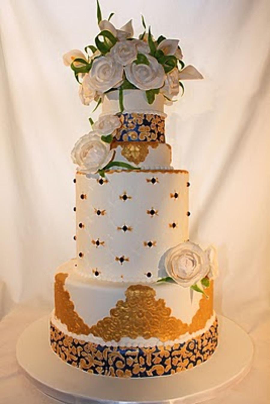 Royal Blue And Gold Wedding Cakes  Elegant Royal Blue And Gold Wedding Cake CakeCentral