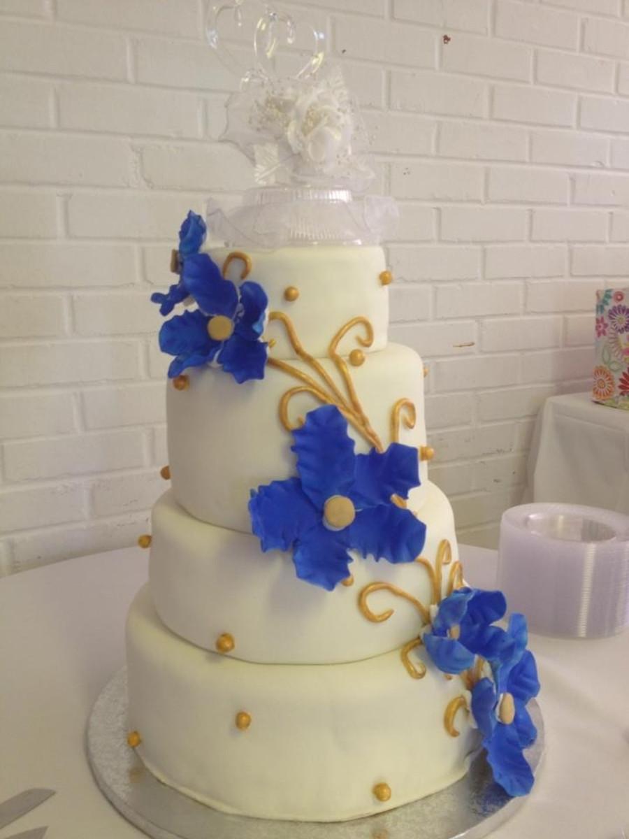 Royal Blue And Gold Wedding Cakes  Royal Blue And Gold Wedding Cake CakeCentral