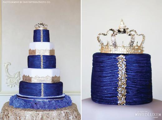 Royal Blue And Gold Wedding Cakes  wedding cake