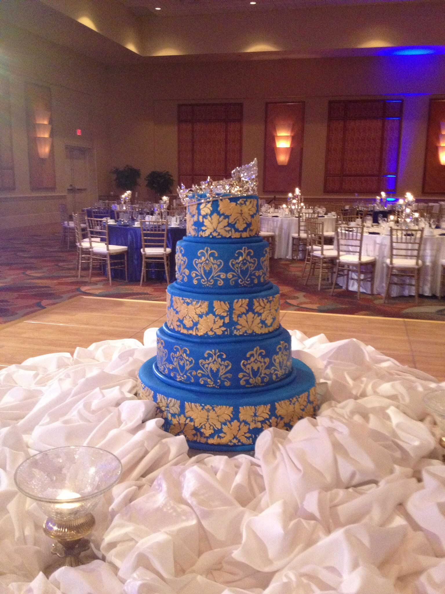 Royal Blue And Gold Wedding Cakes  Royal blue and gold Indian wedding cake