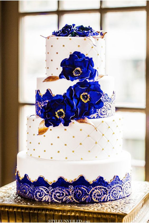 Royal Blue And Gold Wedding Cakes  Royal blue and Gold Wedding Cake Big sissy s