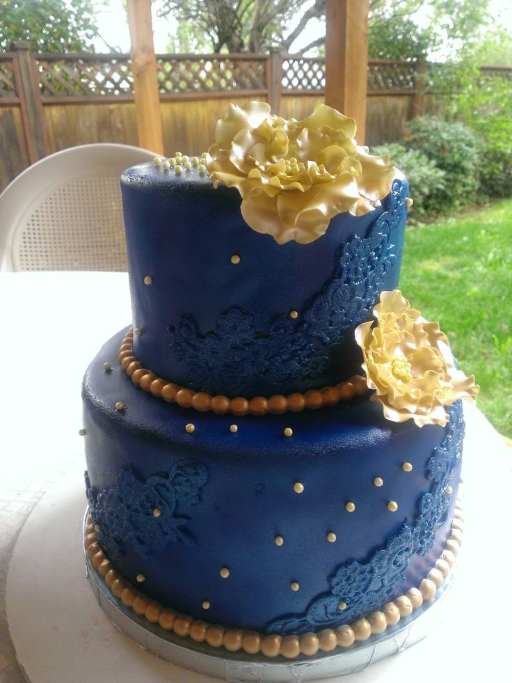 Royal Blue And Gold Wedding Cakes  Royal Blue and Gold cake Cakes by Mavia