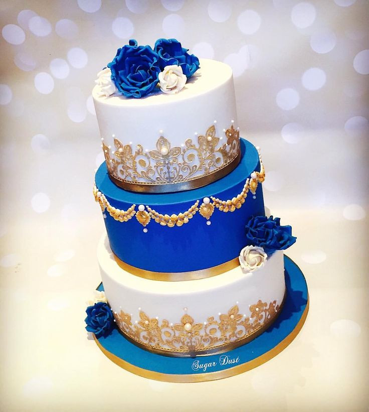 Royal Blue And Gold Wedding Cakes  A royal blue & ivory cake for the lovely Lavanya for