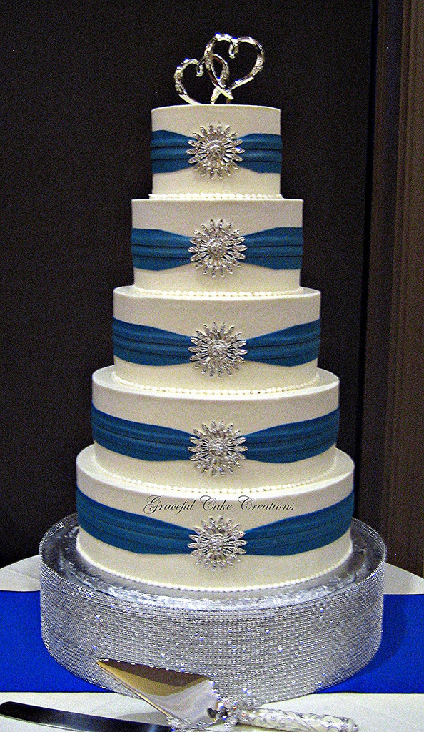 Royal Blue And Silver Wedding Cakes  Elegant White Buttercream Wedding Cake with Royal Blue