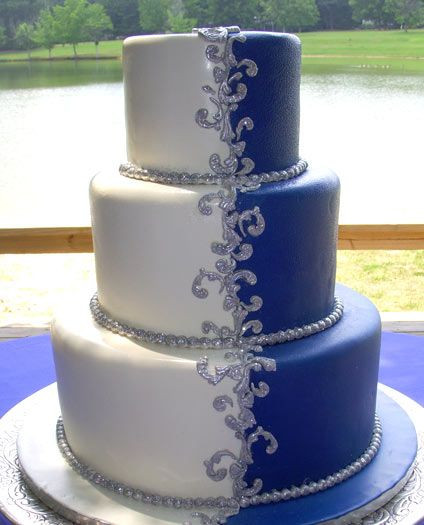 Royal Blue And Silver Wedding Cakes  196 best images about Blue Wedding on Pinterest