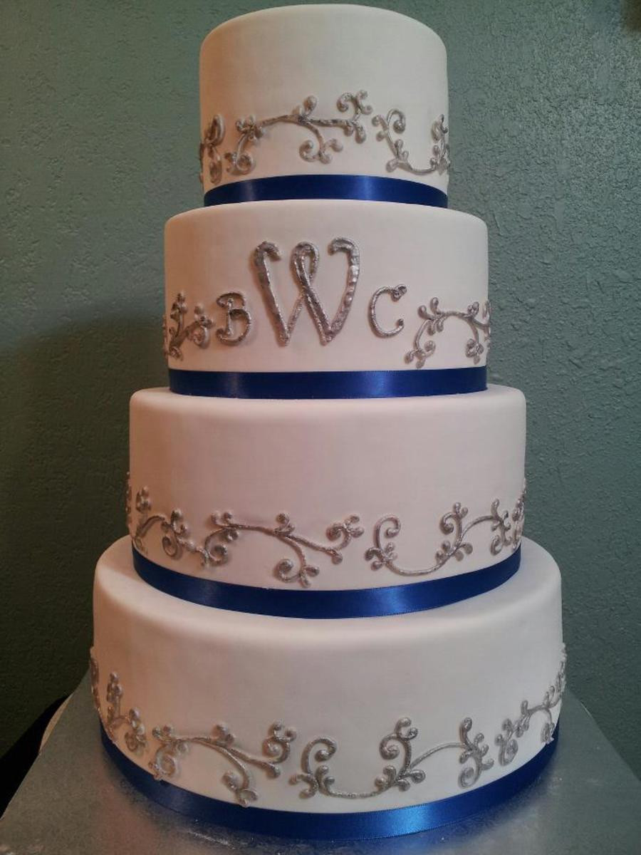 Royal Blue And Silver Wedding Cakes  Ombre Pink Rose Cake CakeCentral