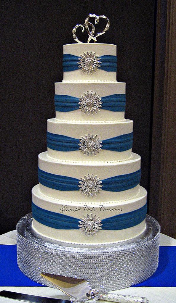 Royal Blue Silver And White Wedding Cakes  Elegant White Buttercream Wedding Cake with Royal Blue Sas
