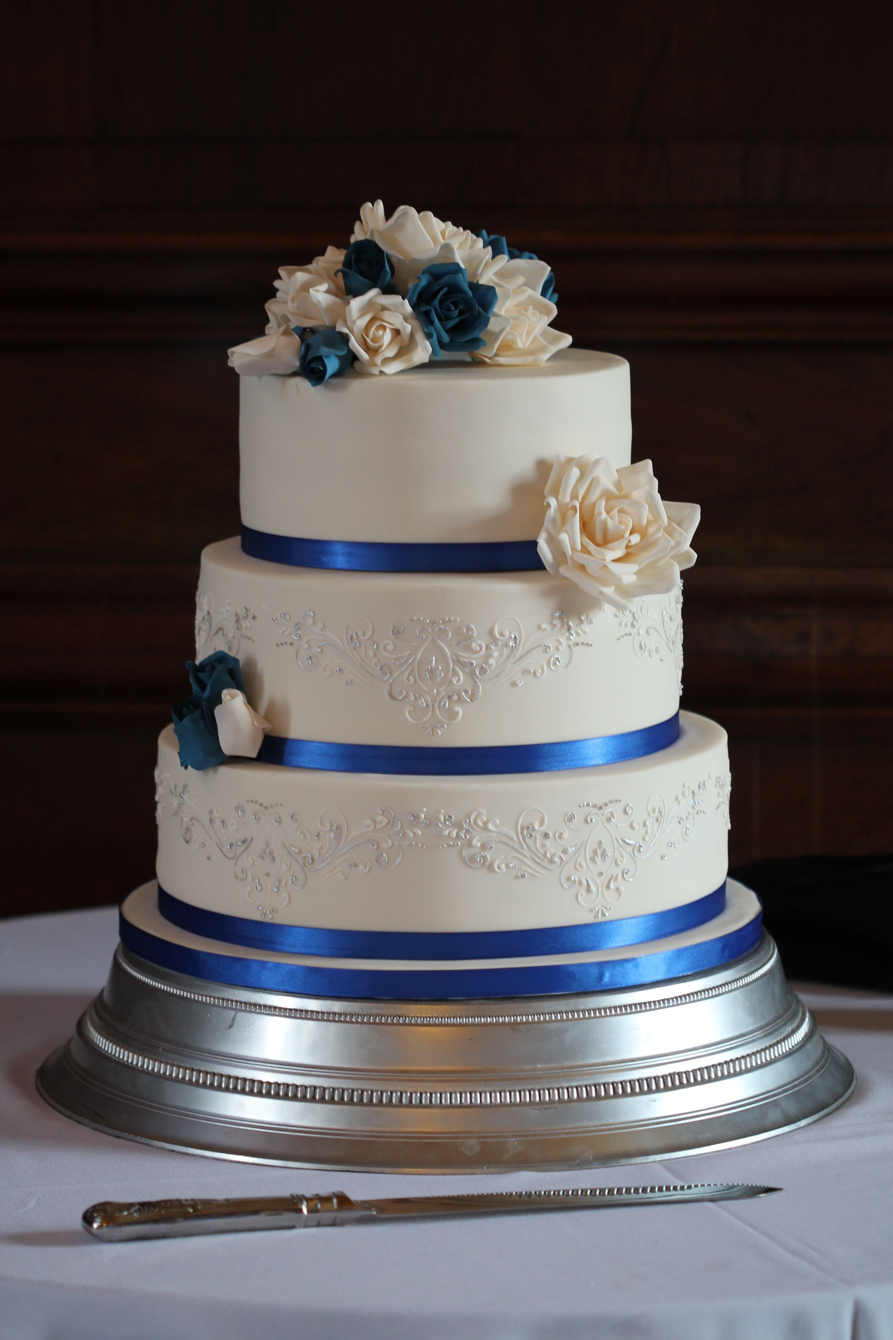 Royal Blue Silver And White Wedding Cakes  Royal Blue & Silver Rose Wedding Cake – Chalming Cake Designs