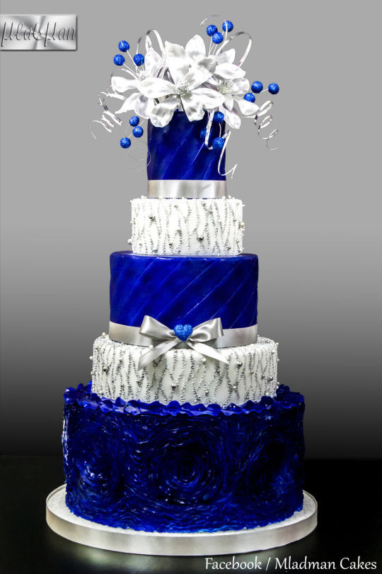 Royal Blue Silver And White Wedding Cakes  Royal Blue Silver Wedding Cake cake by MLADMAN