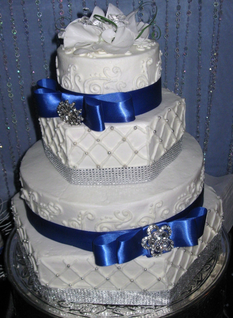 Royal Blue Silver And White Wedding Cakes  Hexagon Royal Blue Wedding Cake CakeCentral