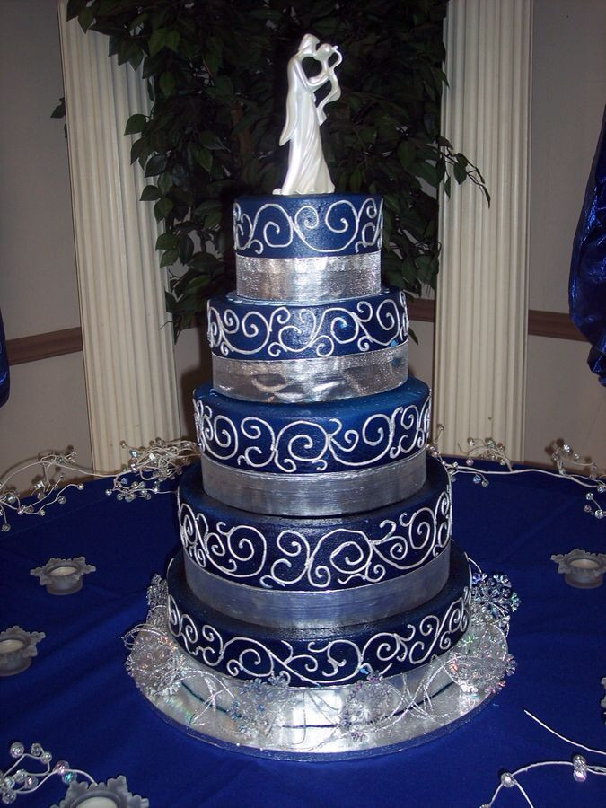 Royal Blue Silver And White Wedding Cakes  Royal Blue and Silver Wedding Bing