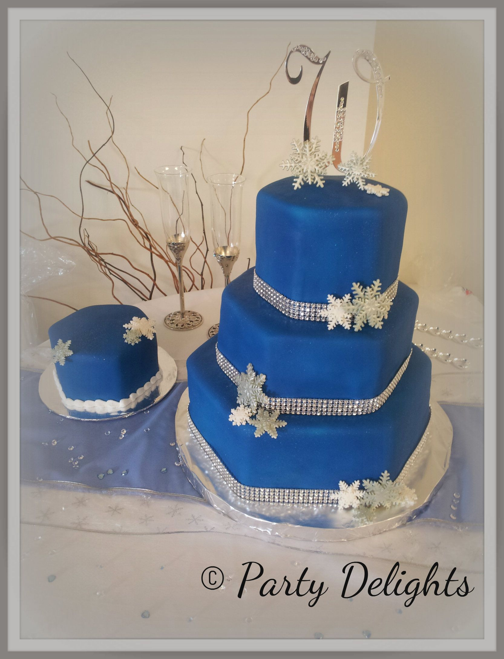 Royal Blue Silver And White Wedding Cakes  Royal blue silver and white snowflake wedding cake