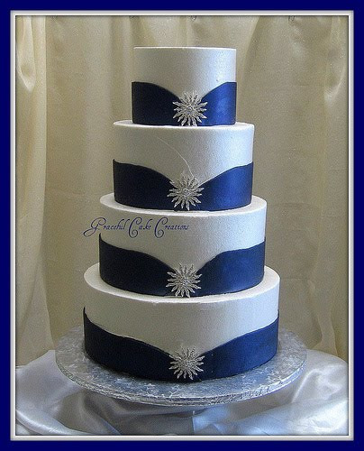 Royal Blue Silver And White Wedding Cakes  Cobalt Blue Wedding Decorations