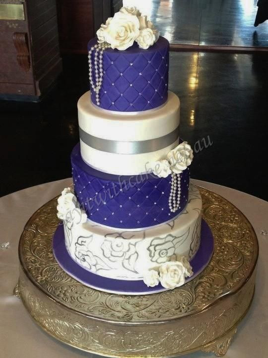 Royal Blue Silver And White Wedding Cakes  Royal blue and silver wedding cake idea in 2017